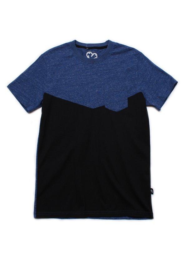 Two-Tone Chevron T-Shirt with Pocket BLUE (Men's T-Shirt)
