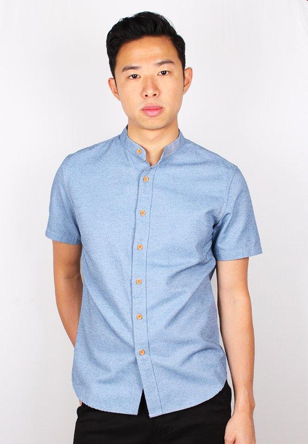 Brushed Cotton Classic Mandarin Collar Short Sleeve Shirt DARKBLUE (Men's Shirt)