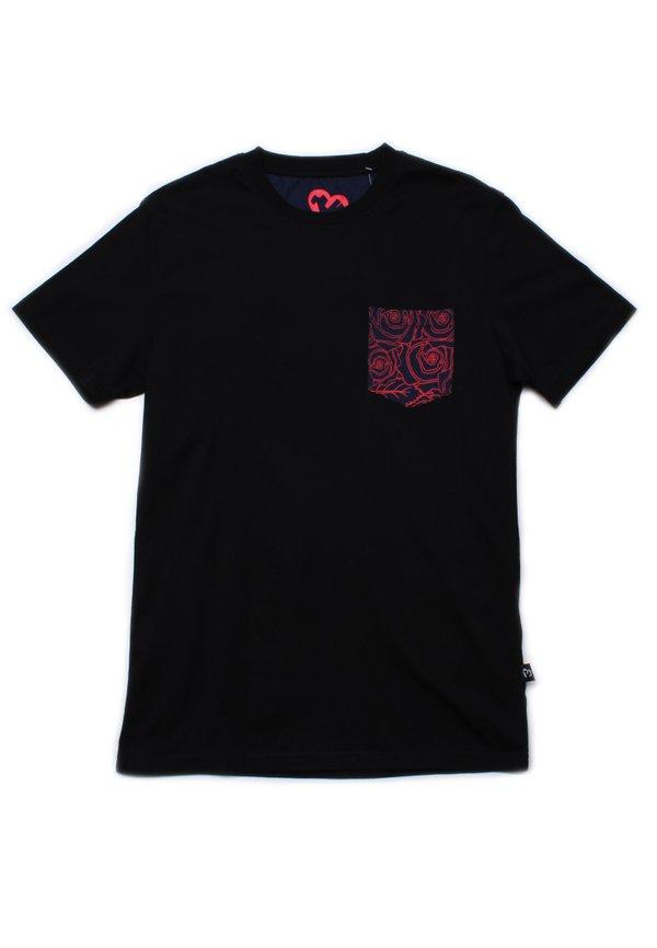 Floral Print Pocket T-Shirt BLACK (Men's T-Shirt)