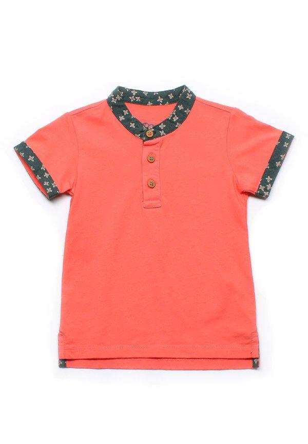 Floral Motif Mandarin Collar Polo T-Shirt PINK (Boy's T-Shirt)