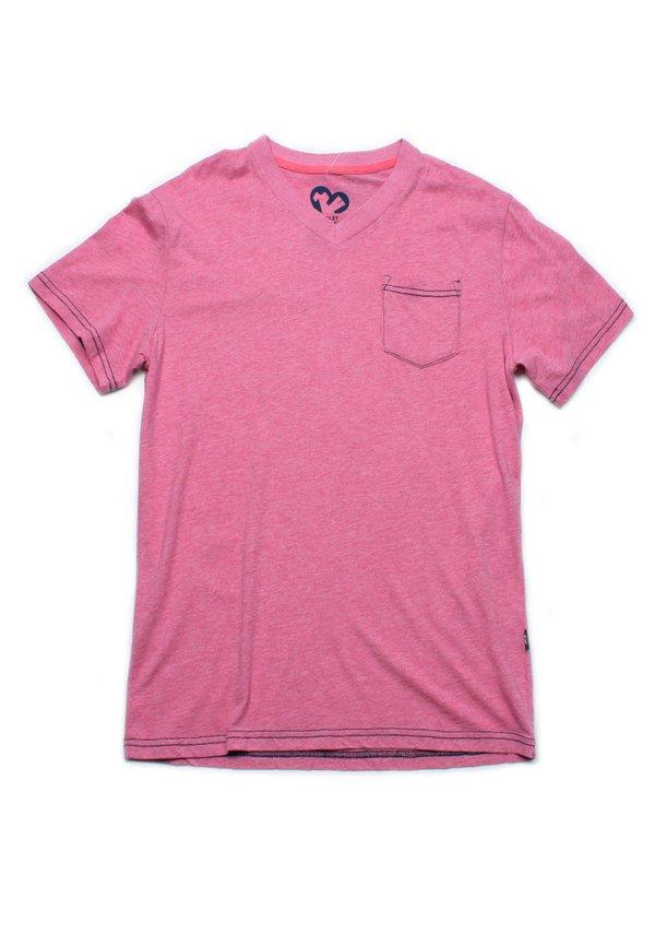 Contrast thread V-neck T-Shirt RED (Men's T-Shirt)