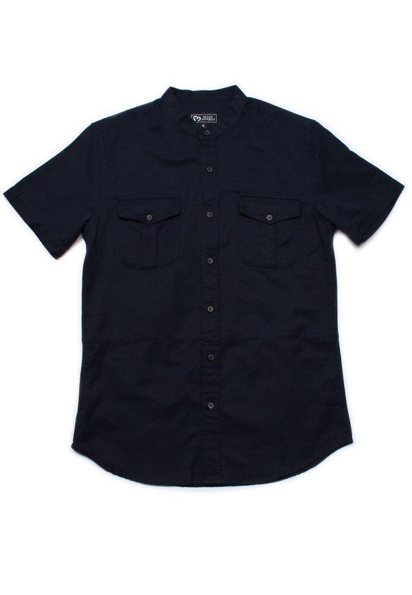 Brushed Cotton Twin Pocket Short Sleeve Shirt NAVY (Men's Shirt)