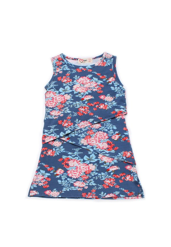 Floral Print Tiered Layered Dress NAVY (Girl's Dress)