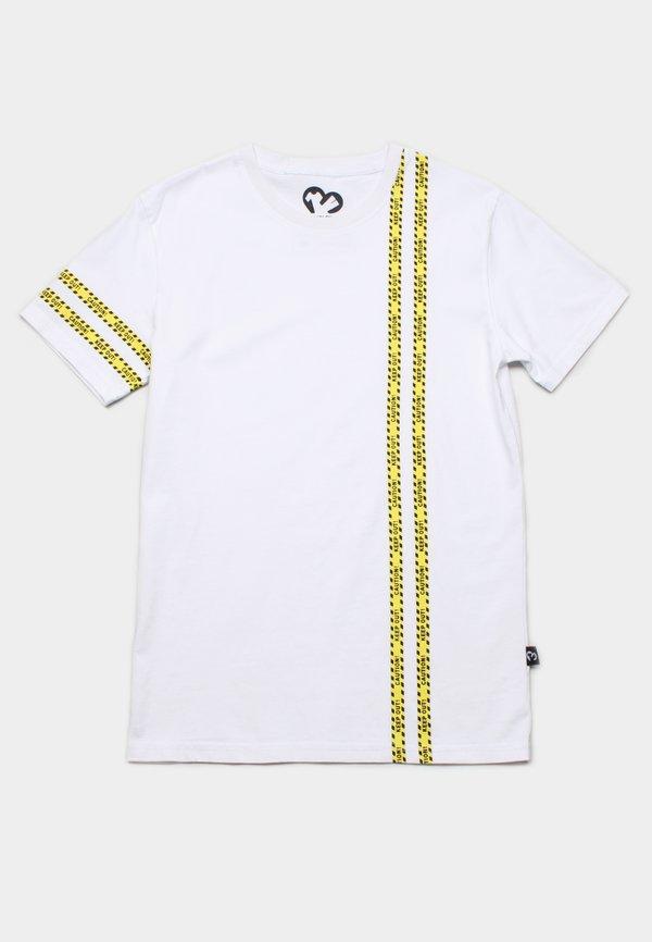 Caution Tape Print T-Shirt WHITE (Men's T-Shirt)