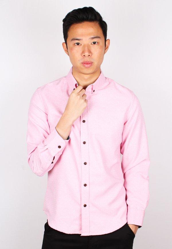 Polka Dot Long Sleeve Shirt PINK (Men's Shirt)