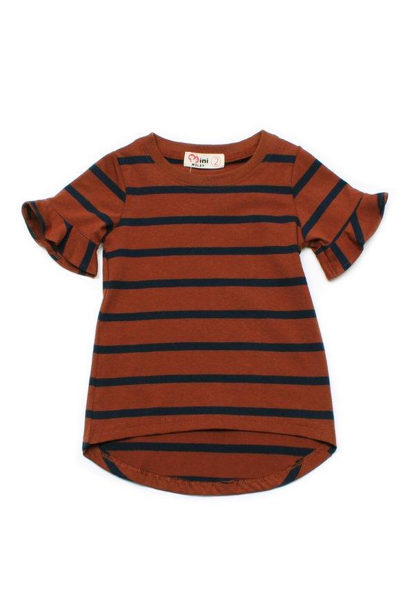 Striped Ruffle Cuffs T-Shirt BROWN (Girl's Top)