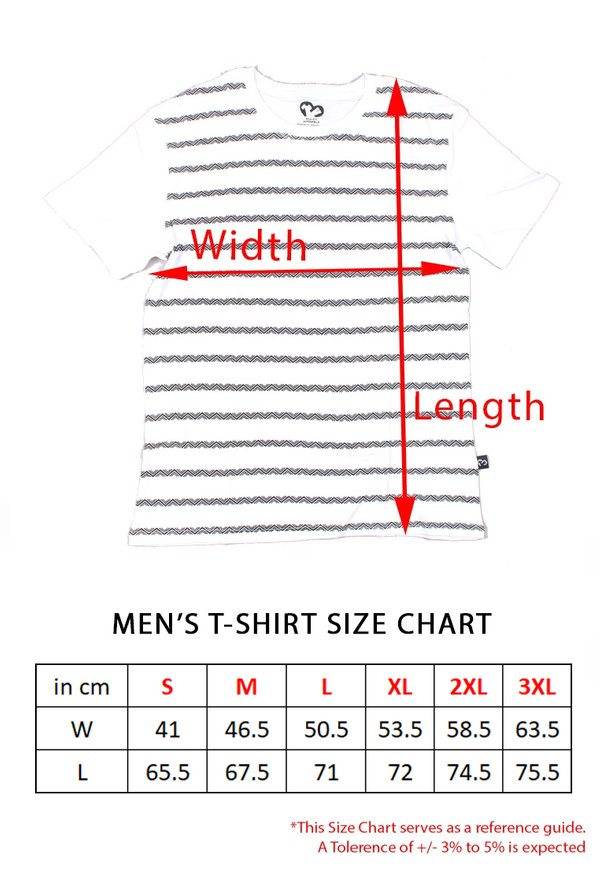 Floral Printed Twin Stripe T-Shirt RED (Men's T-Shirt)