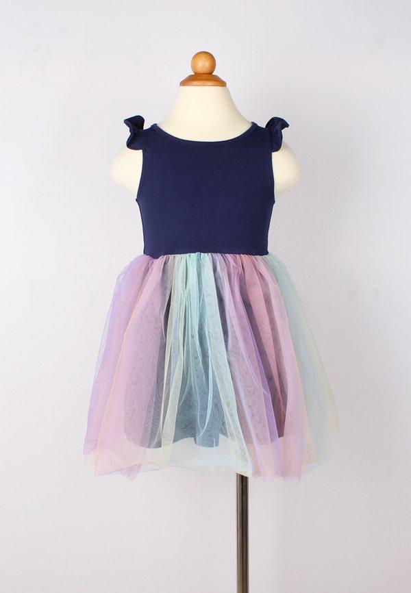 Rainbow Bubble Dress NAVY (Girl's Dress)