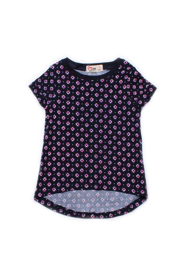 Floral Print T-Shirt NAVY (Girl's Top)