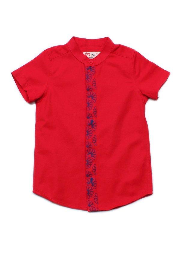 Floral Patterned Print Mandarin Collar Short Sleeve Shirt RED (Boy's Shirt)