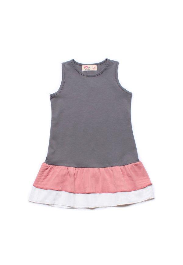 Tiered Ruffle Sleeveless Shift Dress GREY (Girl's Dress)