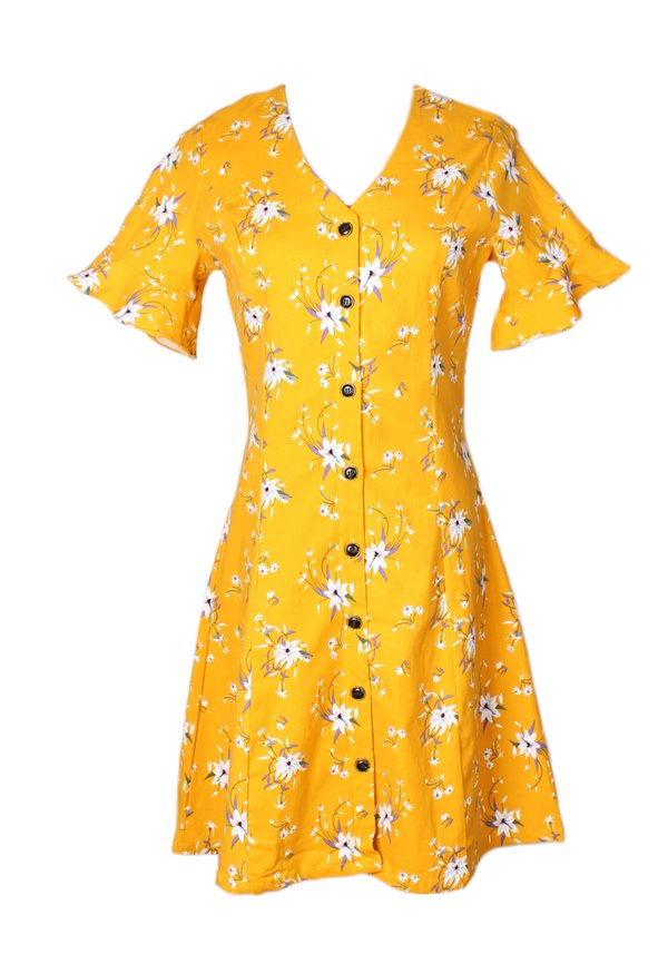 Floral Print Button Down Dress YELLOW (Ladies' Dress)