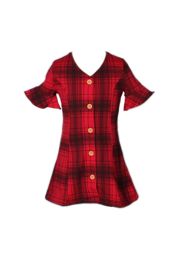 Checkered Button Down Dress RED (Girl's Dress)