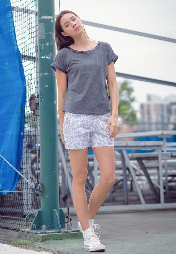 Rose Print Shorts WHITE (Ladies' Bottom)