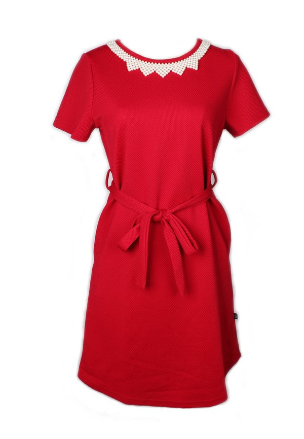 Faux Pearl Neckline Flare Dress RED (Ladies' Dress)