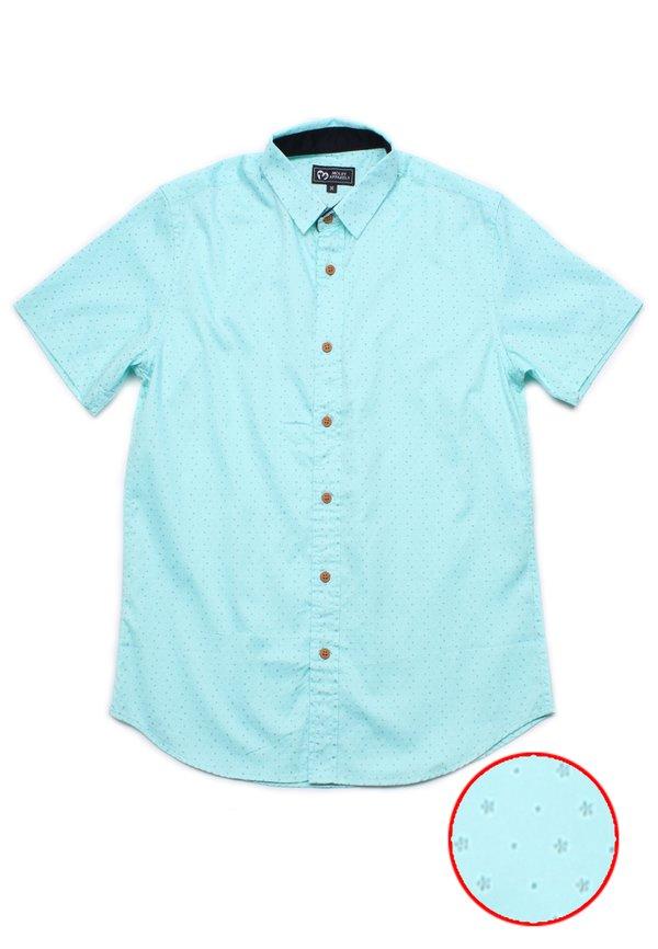 Flower Print Motif Short Sleeve Shirt CYAN (Men's Shirt)