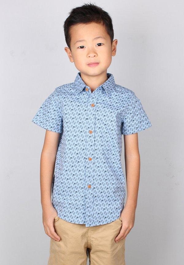 Rose Print Motif Short Sleeve Shirt BLUE (Boy's Shirt)