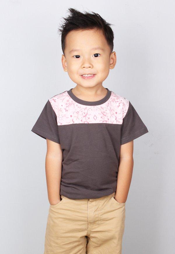 Floral Print Panel T-Shirt DARKGREY (Boy's T-Shirt)