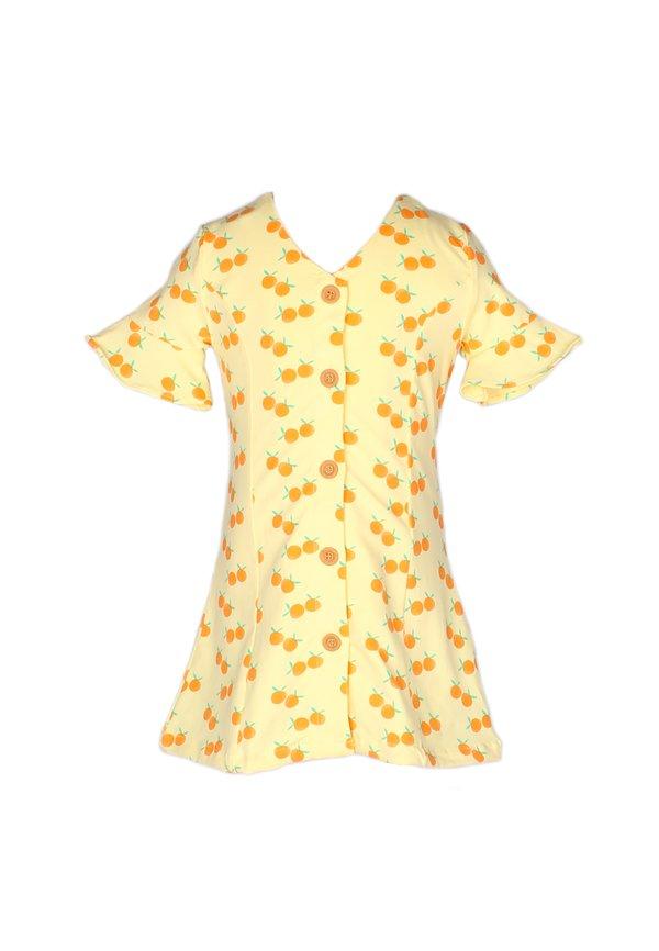 Mandarin Orange Print Button Down Dress YELLOW (Girl's Dress)