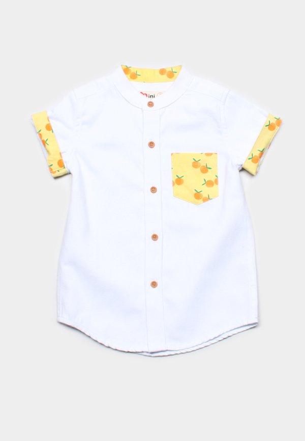 Mandarin Orange Print Mandarin Collar Short Sleeve Shirt WHITE (Boy's Shirt)