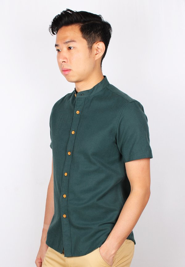 Brushed Cotton Classic Mandarin Collar Short Sleeve Shirt GREEN (Men's Shirt)