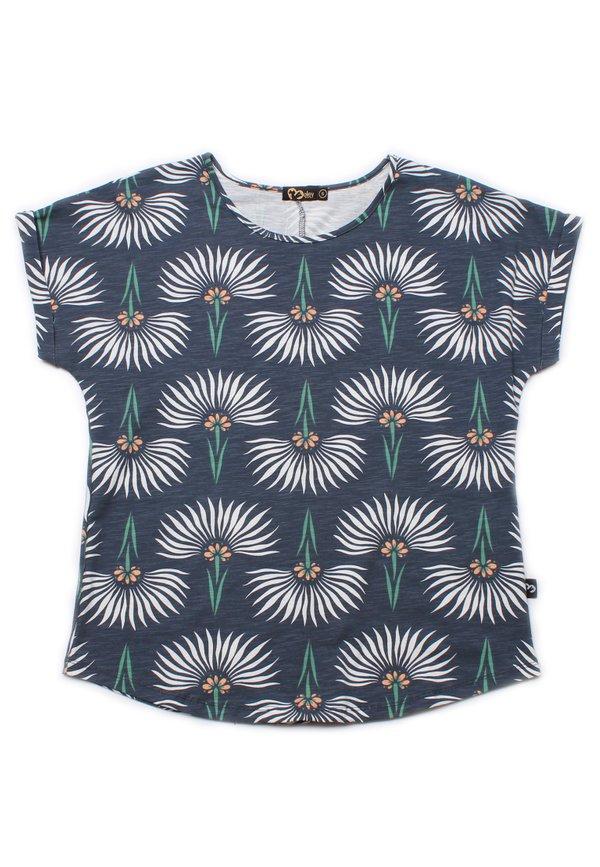 Floral Pattern Print Blouse BLUE-GREY (Ladies' Top)