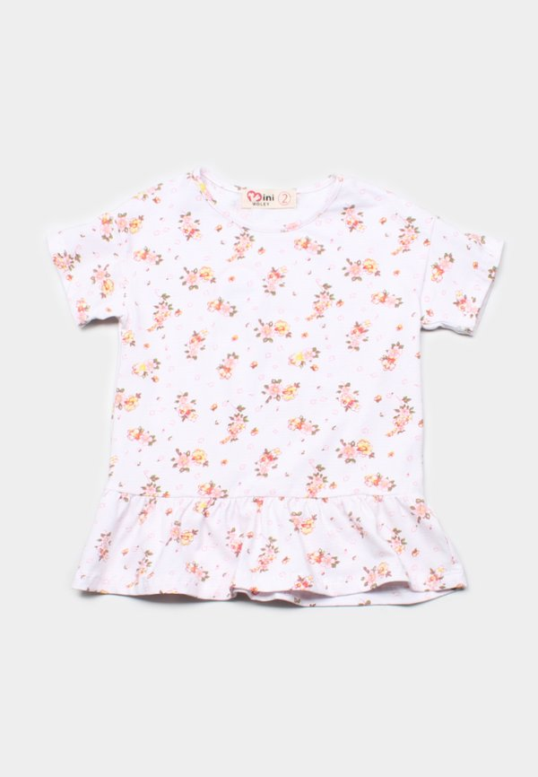 Floral Print Frill T-Shirt WHITE (Girl's Top)