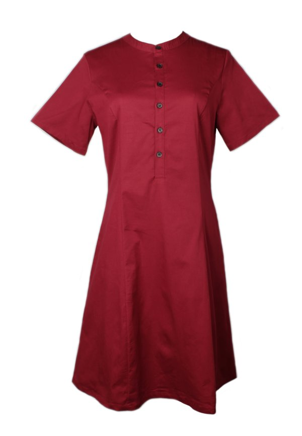 Brushed Cotton Half-Button Down Dress RED (Ladies' Dress)