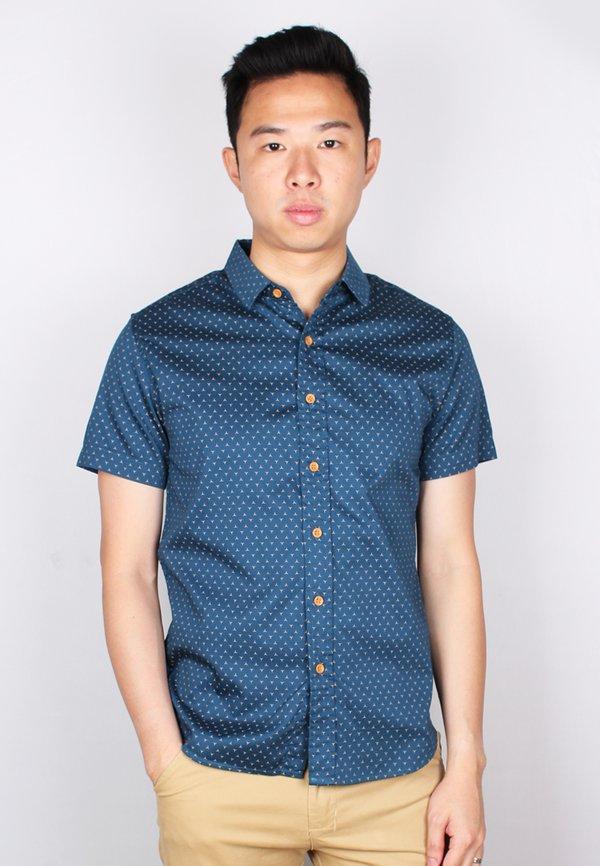 3 Sided Star Motif Design Short Sleeve Shirt BLUE (Men's Shirt)