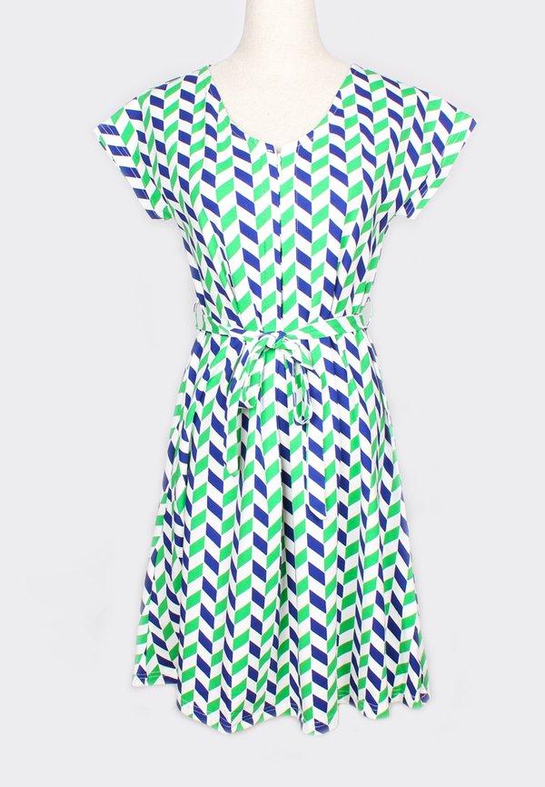 Geometric Chevron Print Nursing Flare Dress GREEN (Ladies' Dress)