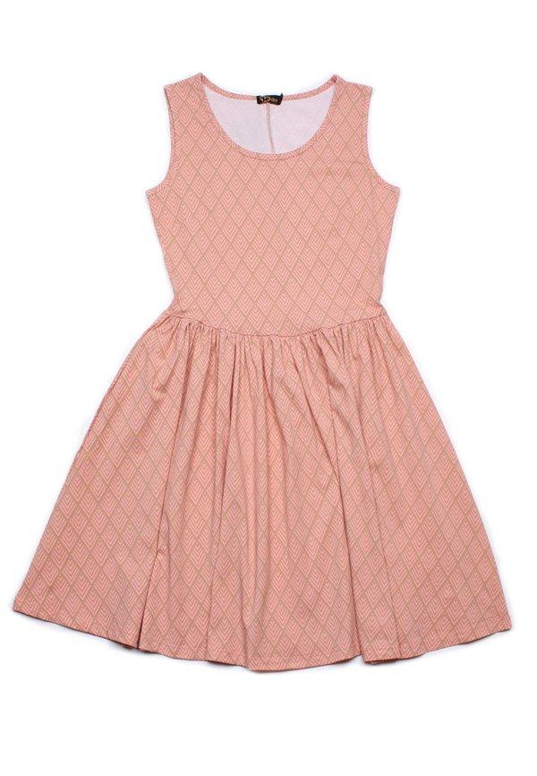 Diamond Chevron Geometric Print Skater Dress PINK (Ladies' Dress)