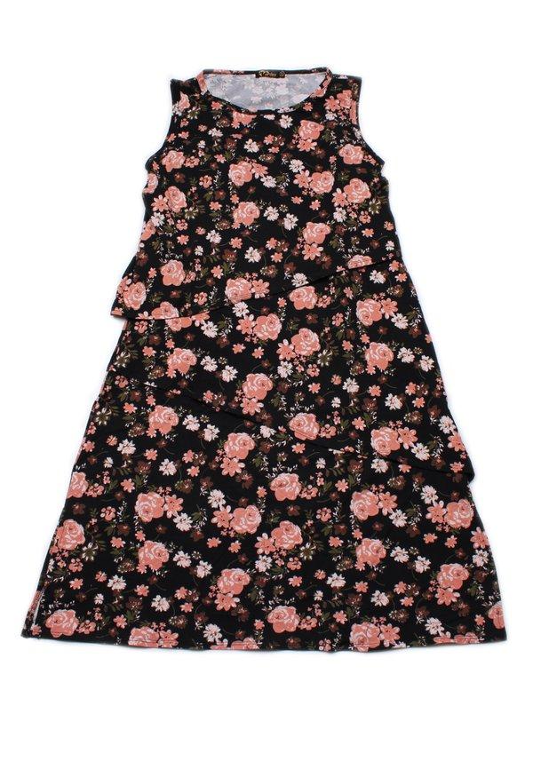 Floral Print Tiered Layered Dress BLACK (Ladies' Dress)