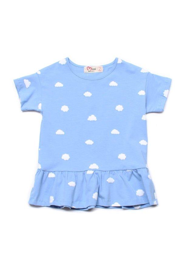 Clouds Print Frill T-Shirt BLUE (Girl's Top)