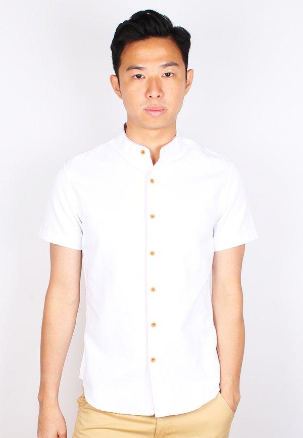 Piped Mandarin Collar Short Sleeve Shirt WHITE (Men's Shirt)