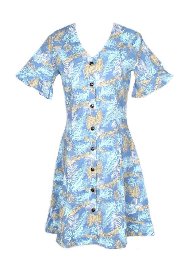 Botanical Print Button Down Dress BLUE (Ladies' Dress)