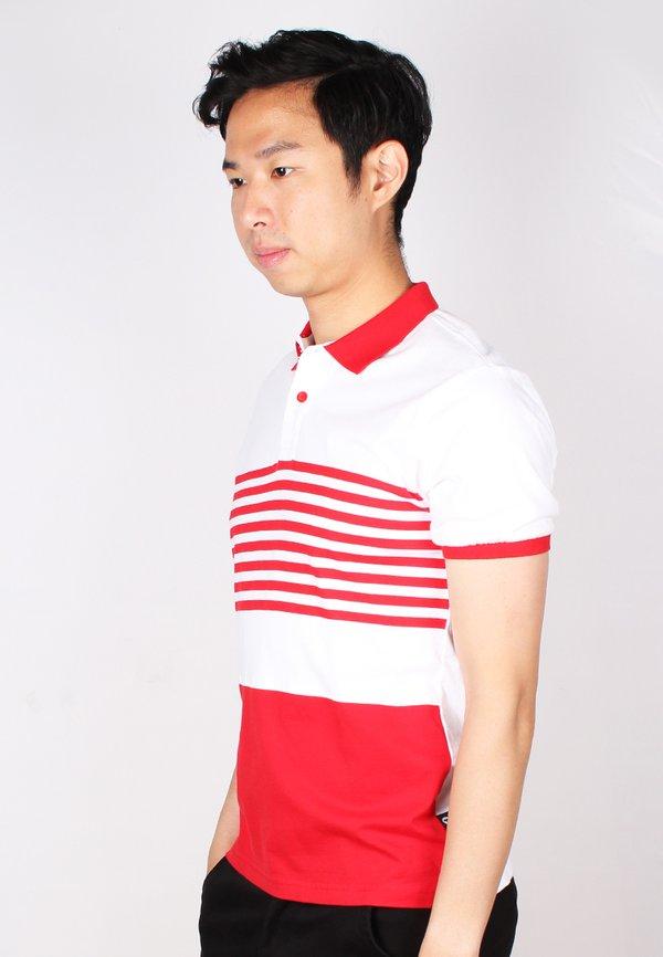 Striped Colour Block Polo T-Shirt RED (Men's Polo)