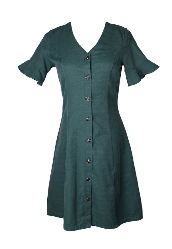 Brushed Cotton Button Down Dress GREEN (Ladies' Dress)