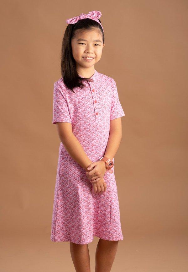 Seashell Print Half-Button Down Dress PINK (Girl's Dress)