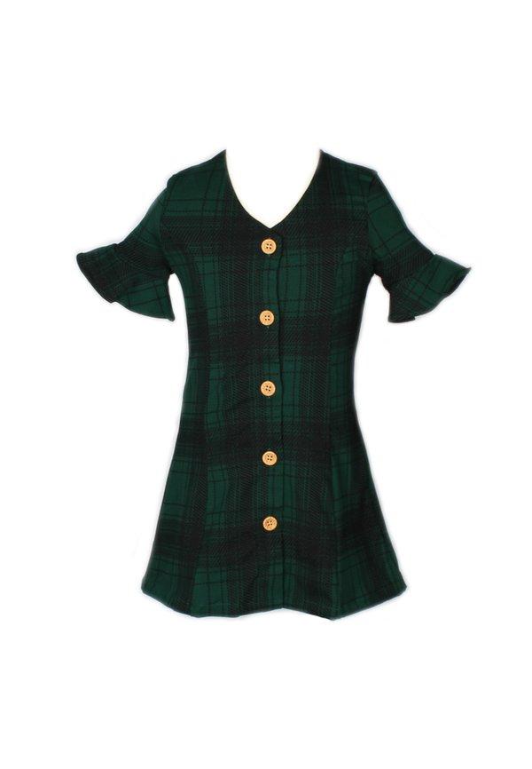 Checkered Button Down Dress GREEN (Girl's Dress)