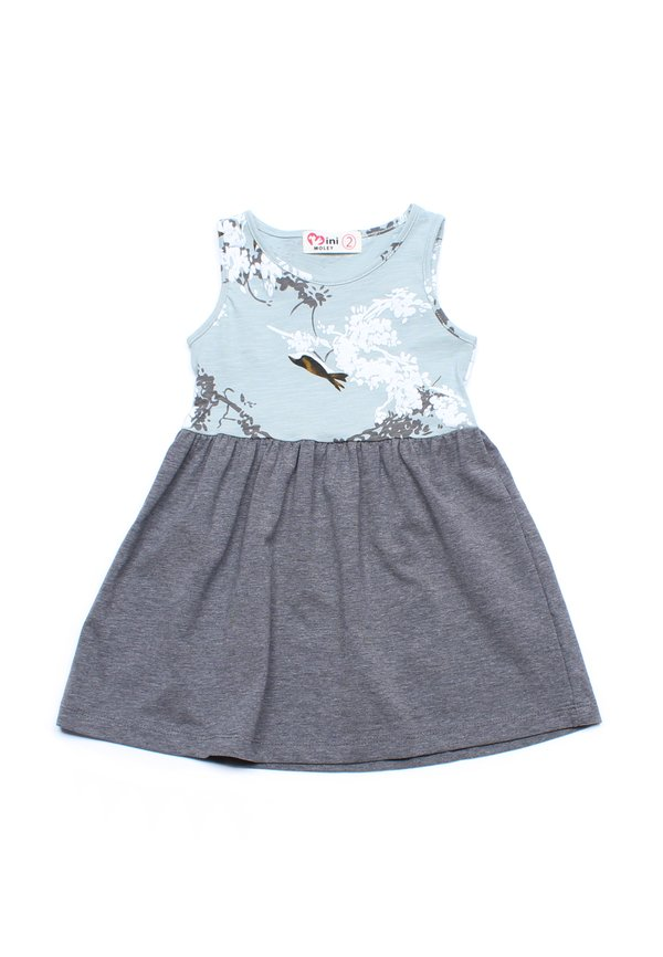Birds and Embossed Floral Print Dress GREEN (Girl's Dress)