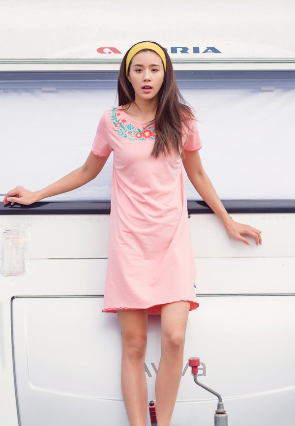 Floral Embroidery Shift Dress PINK (Ladies' Dress)