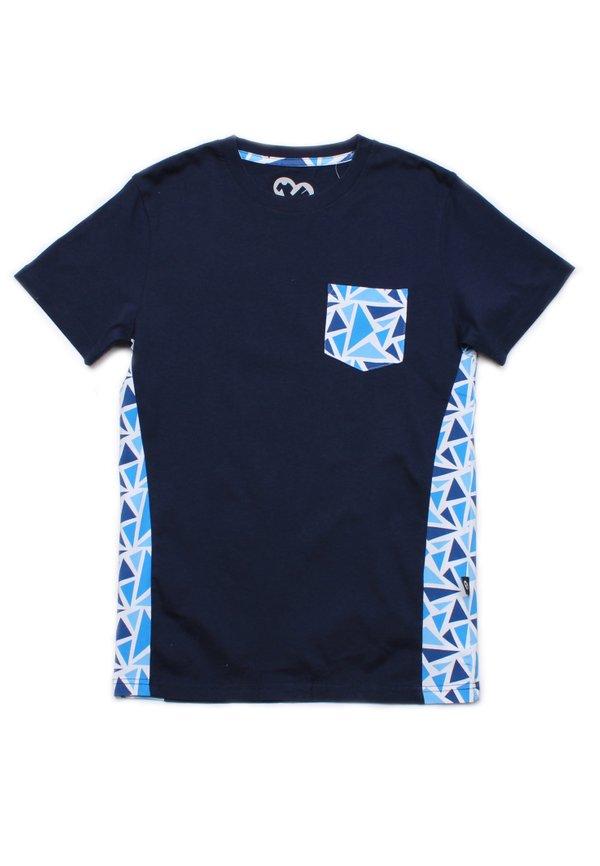 Geometric Triangles Print T-Shirt NAVY (Men's T-Shirt)