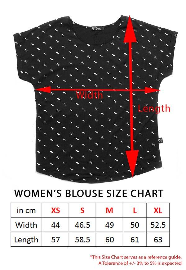 Japanese Wave Print Blouse CYAN (Ladies' Top)