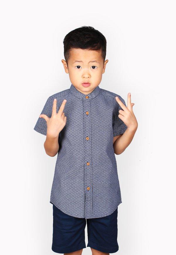 Oriental Motif Print Mandarin Collar Short Sleeve Shirt NAVY (Boy's Shirt)