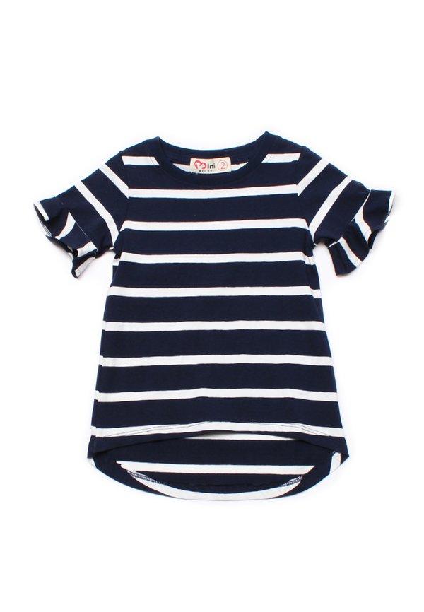 Striped Ruffle Cuffs T-Shirt NAVY (Girl's Top)