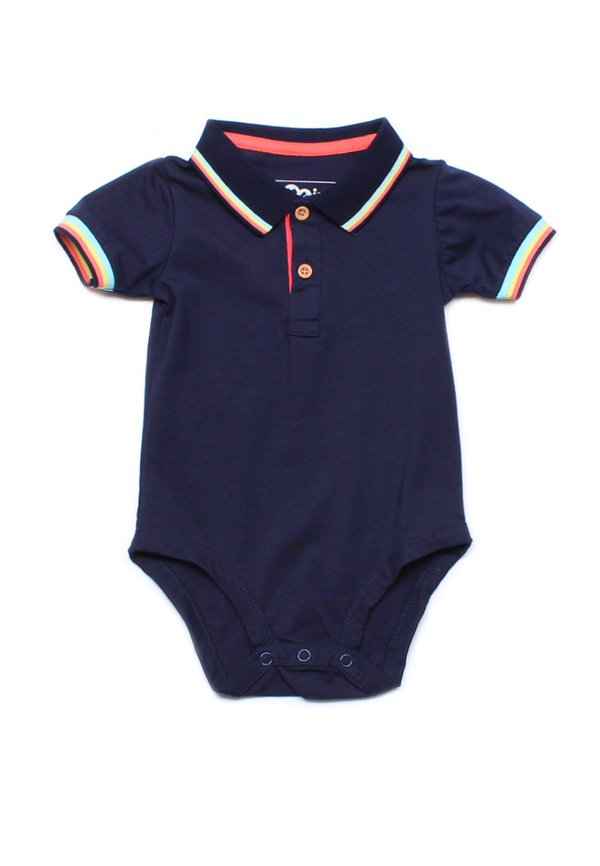 Tri Tipped Polo Romper NAVY (Baby Romper)