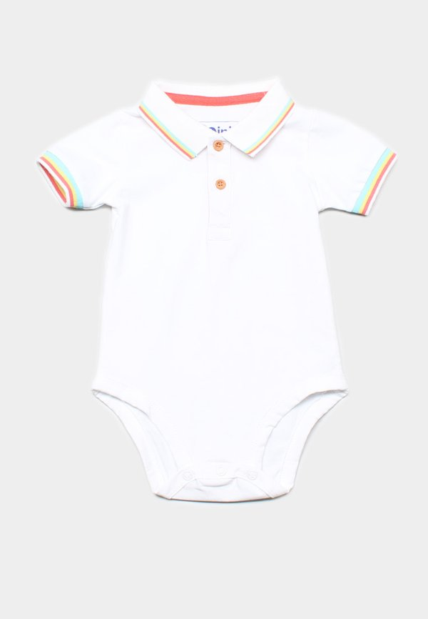 Tri Tipped Polo Romper WHITE (Baby Romper)
