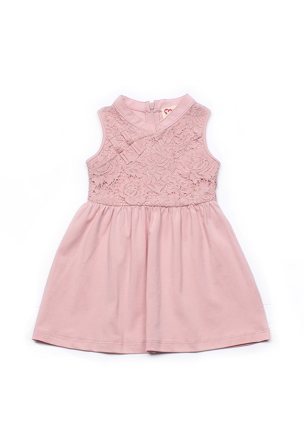 Oriental Cheongsam Inspired Lace Dress PINK (Girl's Dress)