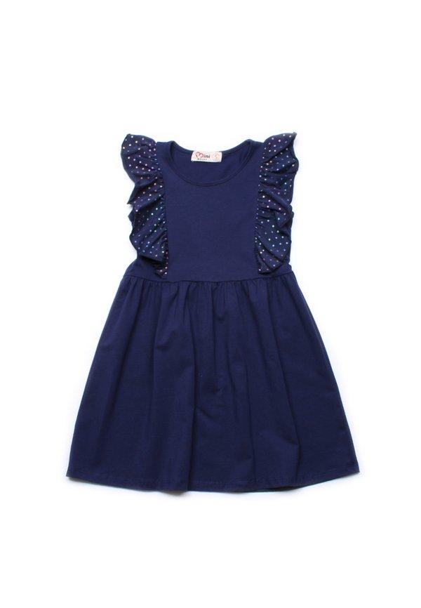 Rainbow Stars Print Twin Ruffle Dress NAVY (Girl's Dress)