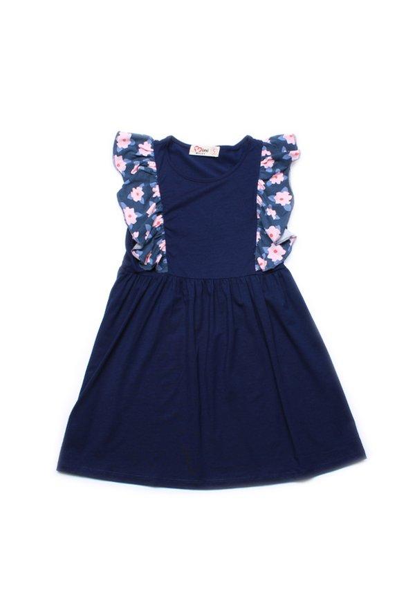 Floral Print Twin Ruffle Dress NAVY (Girl's Dress)